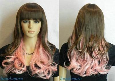 Beautiful mixed Pink + Dark brown long curly cosplay wigs +cap+gift