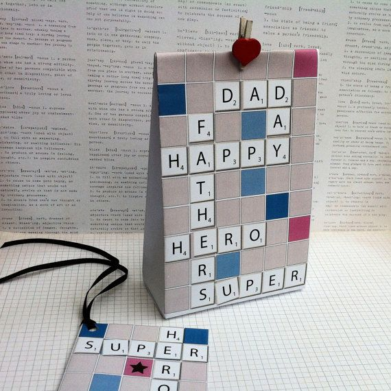 Scrabble inspired Father's Day Gift Bag Template, create bags from a folded page. Printable, PDF. Father's Day card, gifts, Kid's Craft DIY