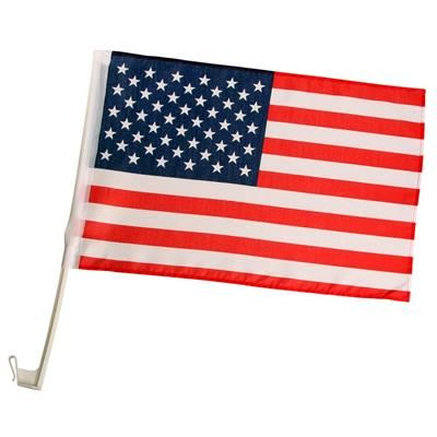 USA Car Flag. Pynt din Amerikanerbil med Amerikanske Car Flags på sideruderne.  Stars and Stripes vinduesflag i gennemfarvet nylon på 45 x 30 cm.  Flagstang i hvid plastic som nemt sættes fast på de fleste bilruder, en almindelig siderude på en bil er 3,5 mm men flagene kan sættes fast på ruder med en tykkelse op til 5 mm.