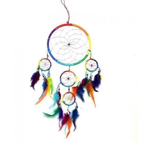 Hippie Rainbow Coloured Dream Catcher
