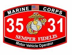 "USMC MOS 3531 Motor Vehicle Operator Decal 5.5"" Marine Corps MOS Stickers"