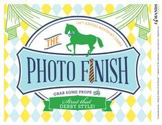 FREE Kentucky Derby Party Printables – Preppy Paddock.  Love the Photo Finish for the Photo Booth.  Watering Hole idea for the bar.