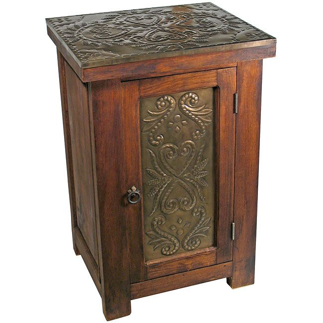 Rustic Wood and Tin Nightstand  This rustic wood nightstand with hand  tooled tin top and door panel will compliment any southwest or rustic  bedroom with an. 17 Best images about Mexican Furniture   Rustic Furniture on