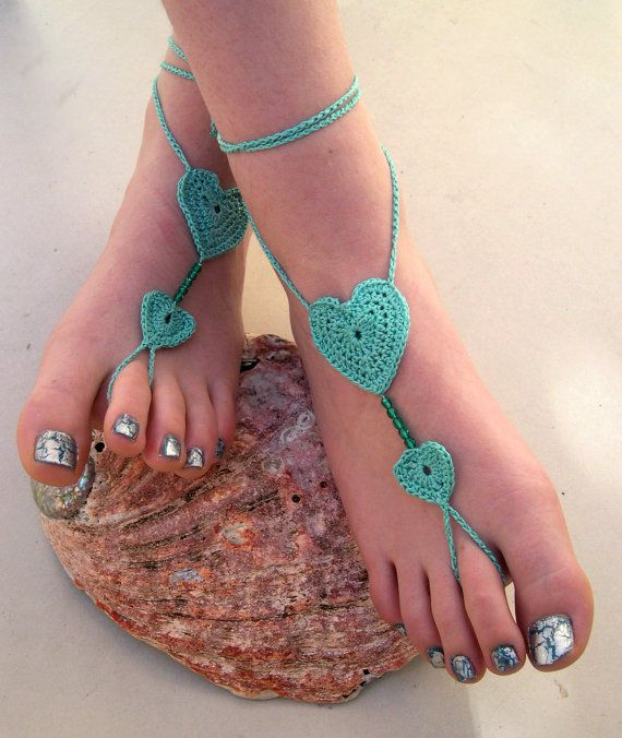 Mint+Green+Barefoot+sandals++Crocheted+Heart+by+MaryKCreation,+$18.00
