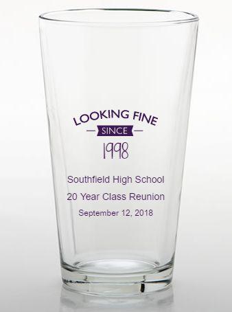 Custom pint glass class reunion favors