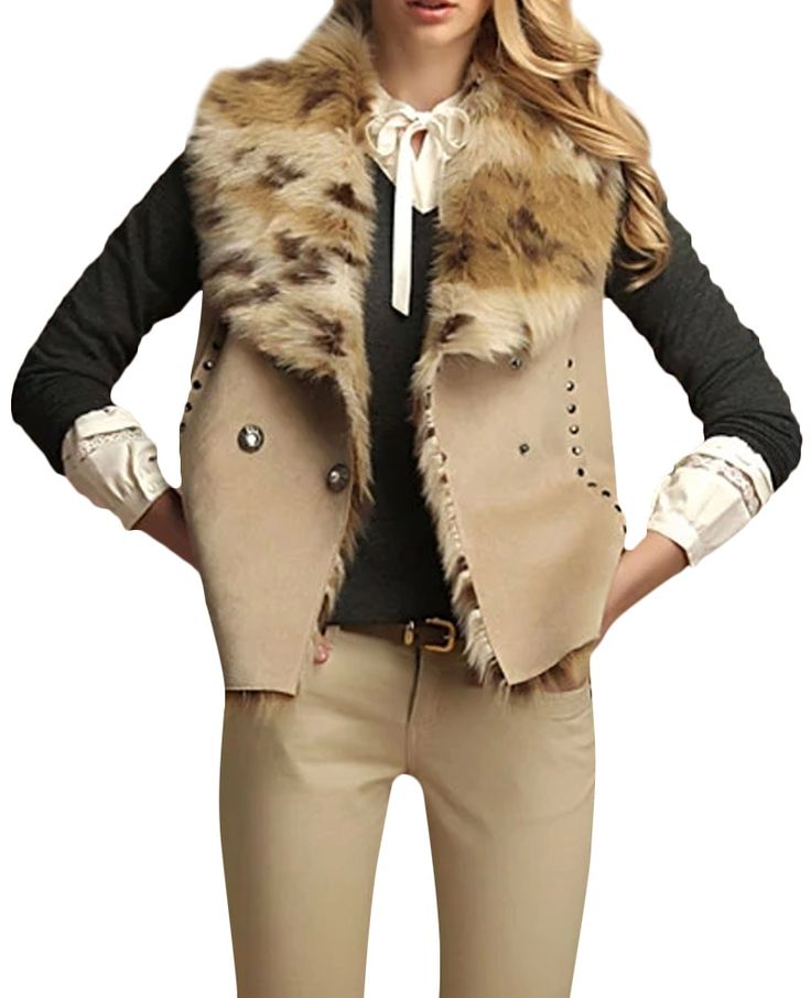 Studded Fur-lined Double-breasted Slim Waistcoat | BlackFive