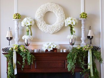 Fireplace mantle decorated for the holidays