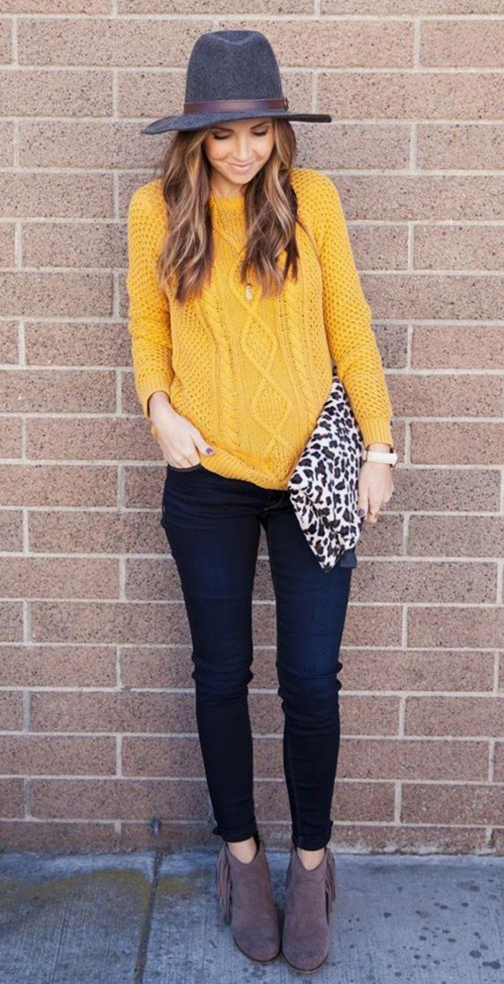 lovely yellow sweater outfits pinterest girl