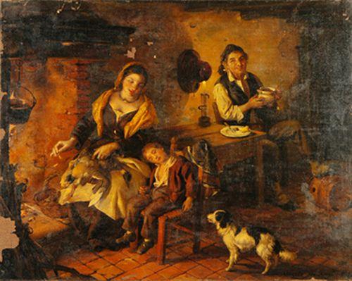 "Angelo Inganni ""Nella casa del contadino"" ANGELO INGANNI (Brescia, 1807 – Gussago, 1880) #TuscanyAgriturismoGiratola"