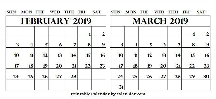 Two Month Calendar February March 2019 Free Calendar February
