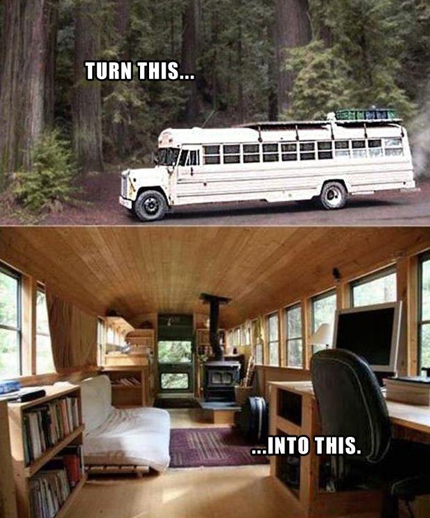 bus made into a home,