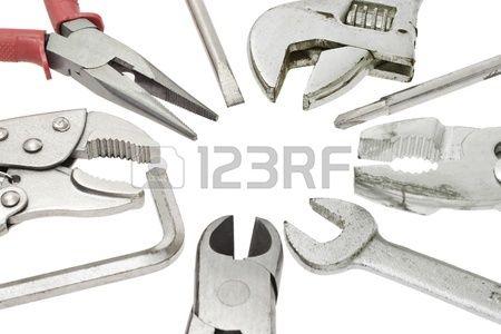 H galo usted mismo herramientas sobre fondo blanco Foto de archivo
