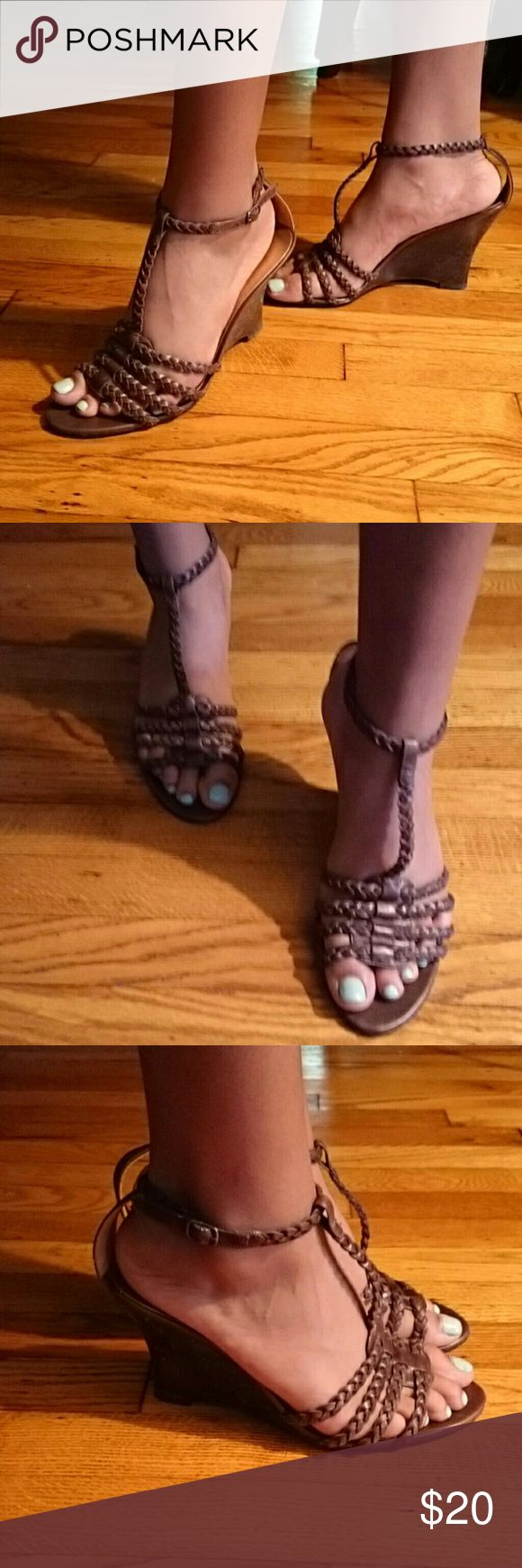 GUESS by Marciano sandals Used in great condition brown braided leather scrappy wedge sandals..Great price! Guess by Marciano Shoes Sandals