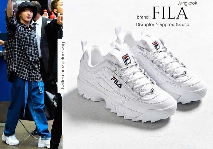 Fila Disruptor Ii Sneakers White Hare Big Check Shirt Black Bts