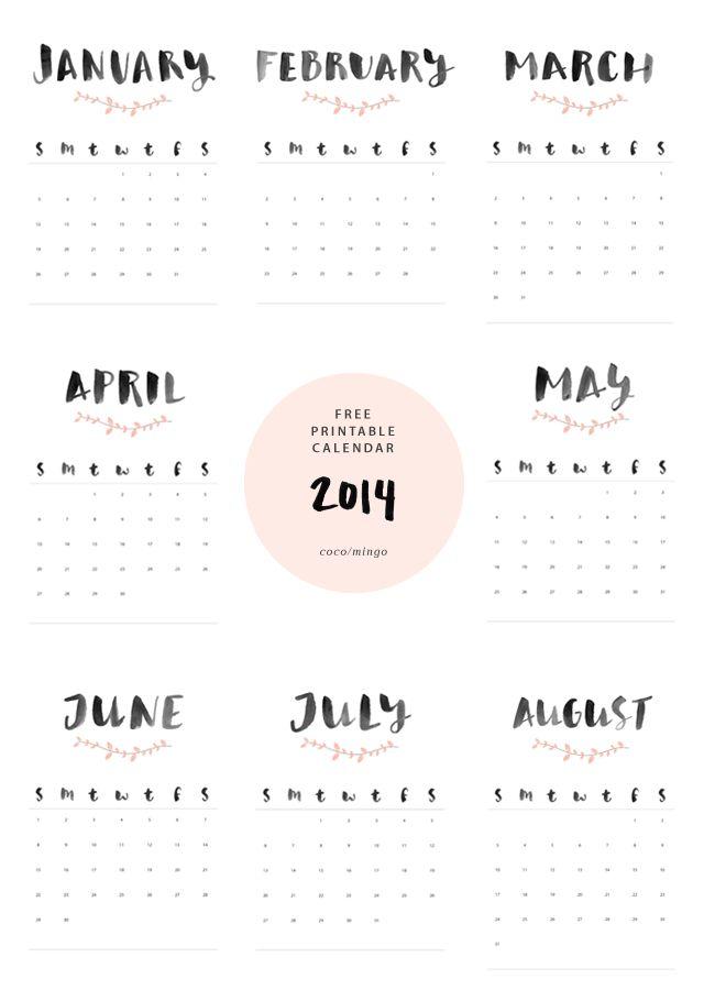 FREE printable 2014 calendar ^^ / Coco/Mingo