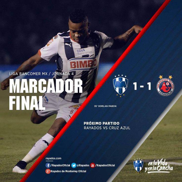 Termina el partido en el Estadio Tecnológico Club de Futbol Monterrey 1-1 Tiburones de Veracruz  Próximo partido contra Altamira el martes 3 de febrero a las 21:00 horas. La asistencia de hoy fue de 26,328.