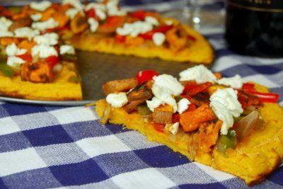 Caramelized Onion & Goat Cheese Pizza w Sweet Potato Socca Crust @LeanGrnBeanBlog #fitfluential