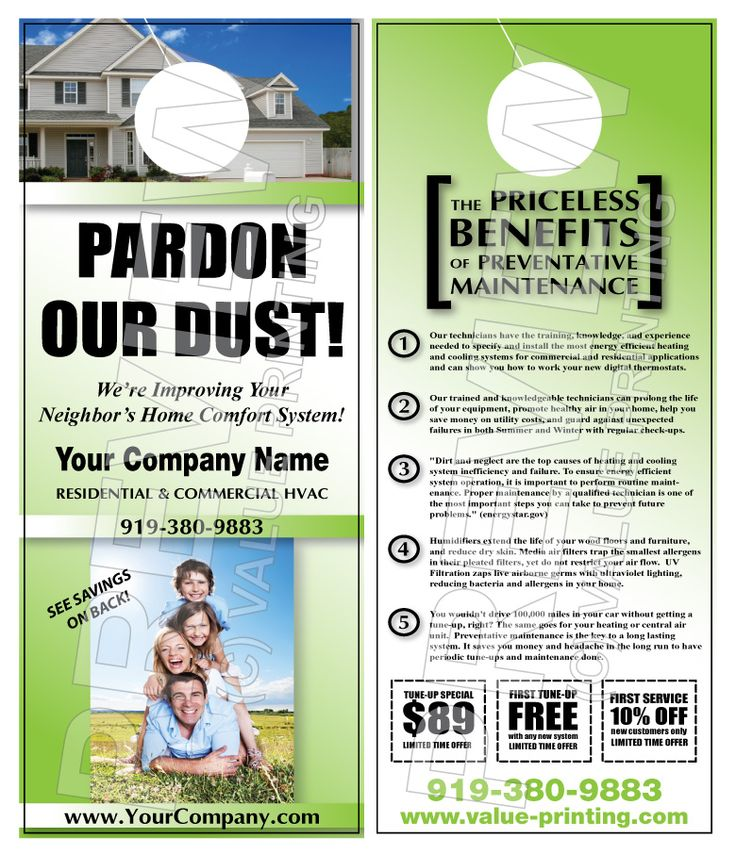 Advertise your Maintenance Contracts to your customeru0027s neighbors - retail and consumer door hanger template