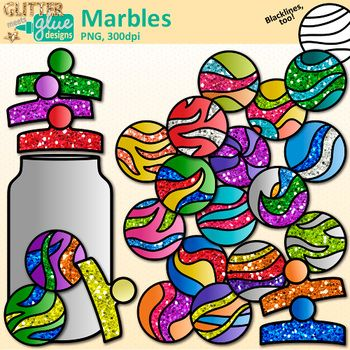 Marbles Clip Art: Think of all the fun math games you could create using this set of clipart. This old game, dating back to ancient Egyptian tombs and Pompeii, is perfect for teaching your students about probability and statistics. Design a poster-sized compliment jar