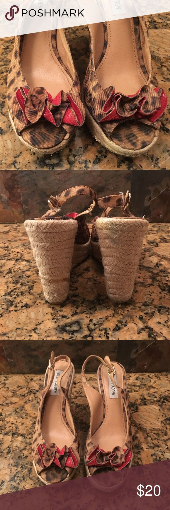 """Steve madden leopard wedges Steve madden """"Fauntain"""" leopard wedges with red floral """"bow"""". Wedge height 5 inches. Steve Madden Shoes Wedges"""