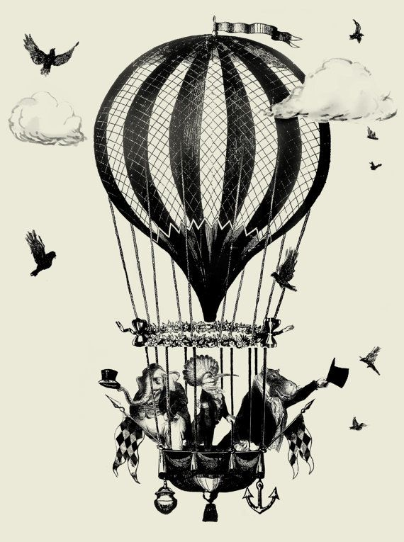 Glasgow Circus Hot Air Balloon Vintage Print