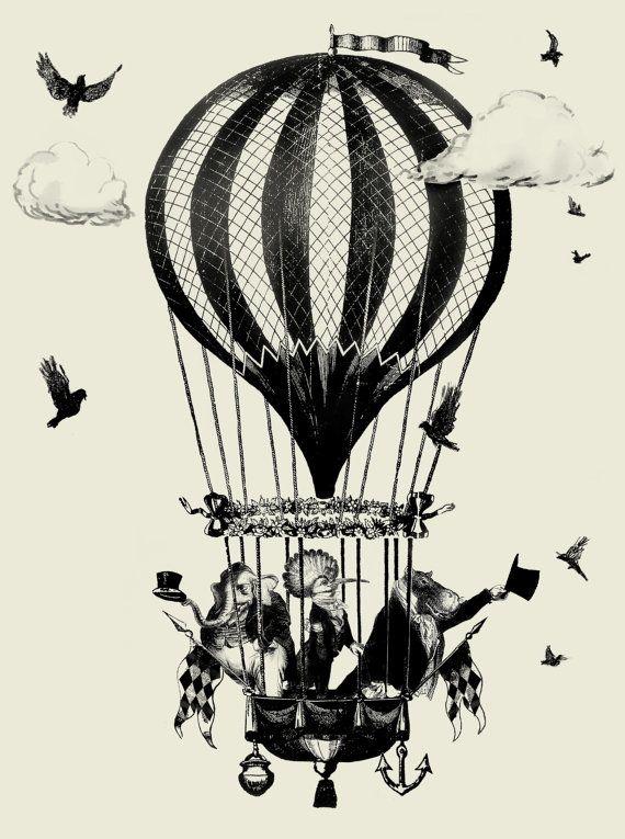 Glasgow Circus Hot Air Balloon Vintage Print