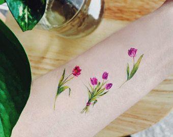 flower Temporary Tattoos Set of 5, Tulip temporary tattoos,mini temporary tattoos, flower tattoo,purple tulips tattoo,floral temporary #flowertattoos