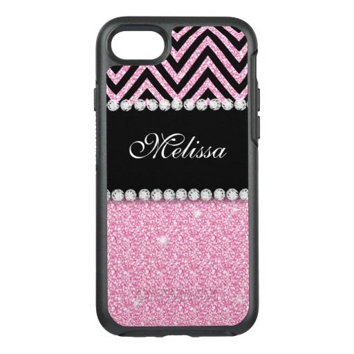 Pink Glitter Printed Personalized Monogram Name OtterBox Symmetry iPhone 7 Case