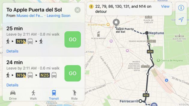 Trasporti pubblici: le mappe di Apple ora supportano Madrid
