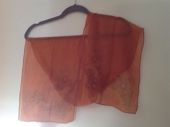Burnt orange Chiffon Silk funky flower by HennaCreationsSilk