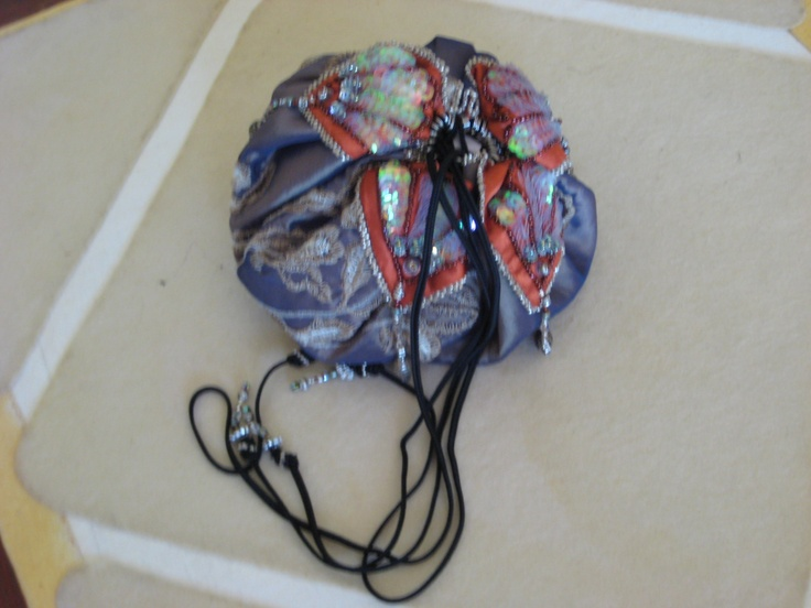 Embroidered and French Beaded Silk Pouch Bag for Christine