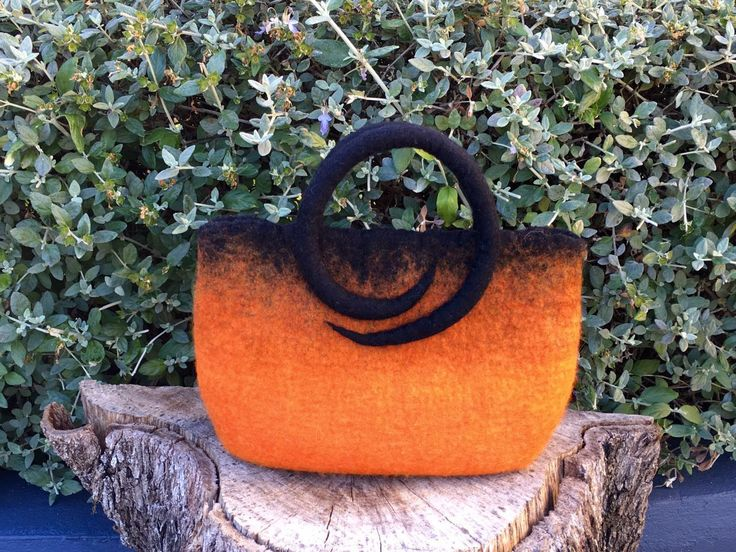 Hand felted hand bag, orange and black, merino wool by SilkWoolTouch on Etsy