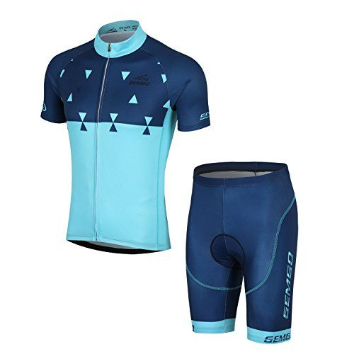 Gemgo Mens Cycling suit Jerseyshorts Short Sleeve Breathable PolyesterPolyamideSpandex L Dark Green -- For more information, visit image link.