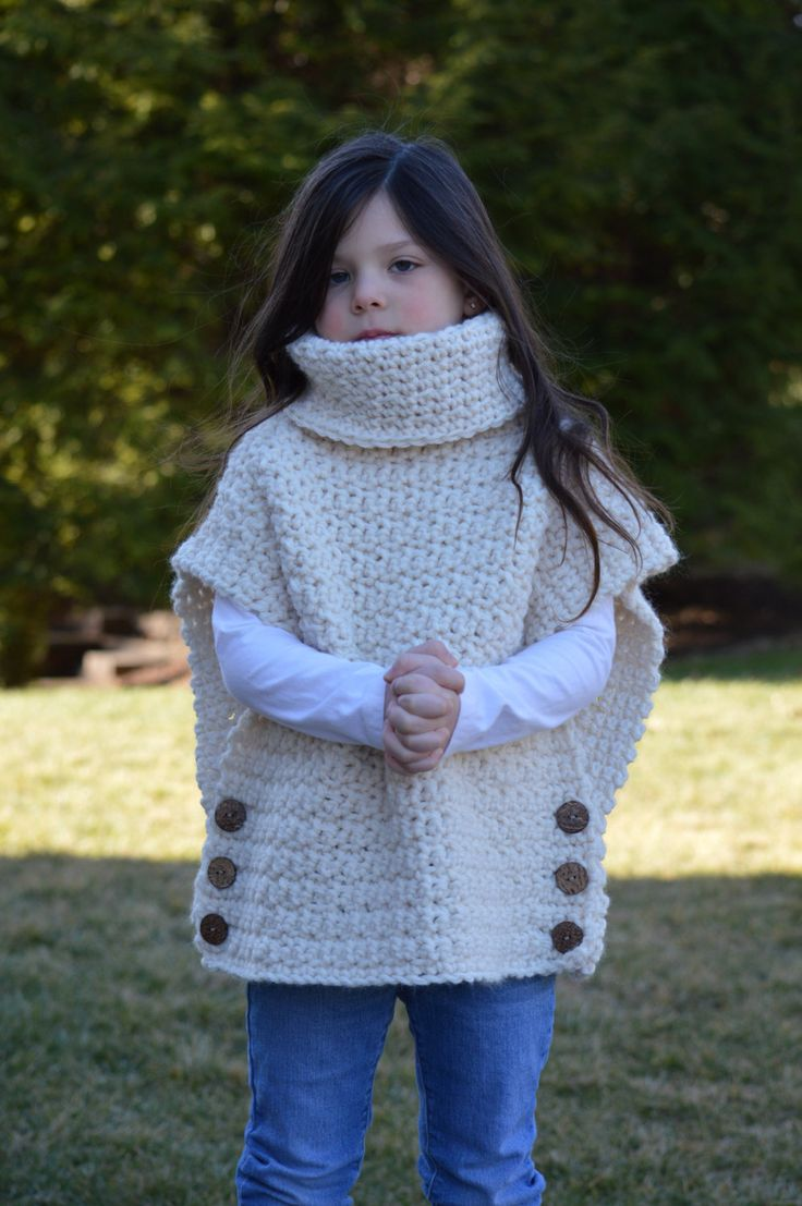 Crochet Pullover Sweater with Cowl Neck and Button Closure