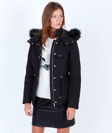 Doudoune à capuche bordée de fausse fourrure - Doudounes - Manteaux - Vêtements - Prêt-à-porter