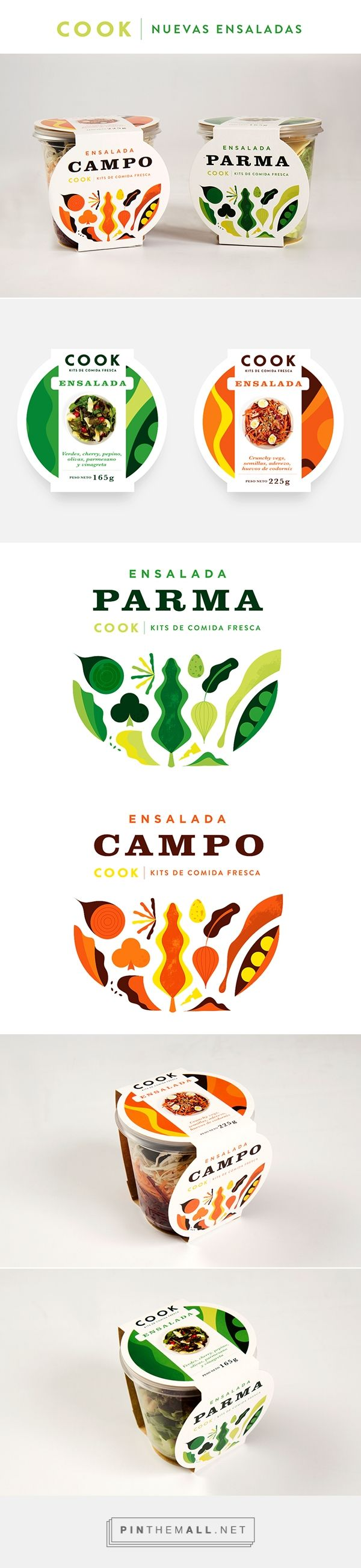 "COOK ENSALADAS on Behance by Mundial curated by Packaging Diva PD. The Uruguayan fresh food brand called COOK launched its new ready to eat salads. His first two mix are ""PARMA"" and ""CAMPO"" packaging with cool artwork with much parmesan, cherry tomatoes, arugula and lots of olive oil"