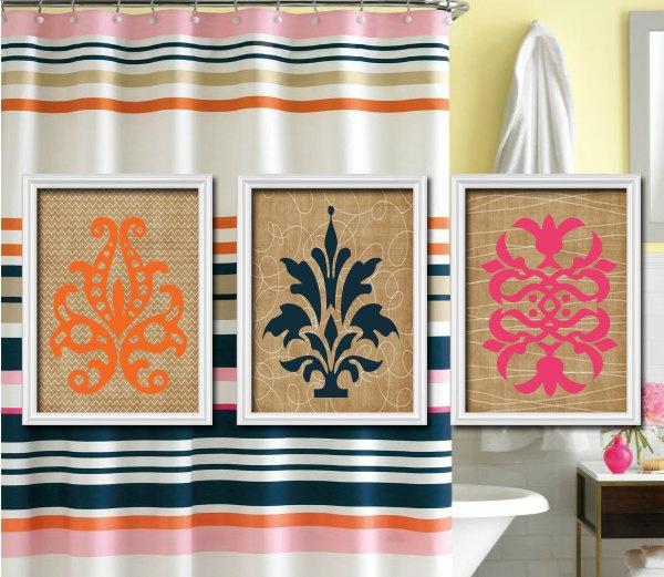 1000 ideas about damask bathroom on pinterest velvet for Pink and orange bathroom ideas