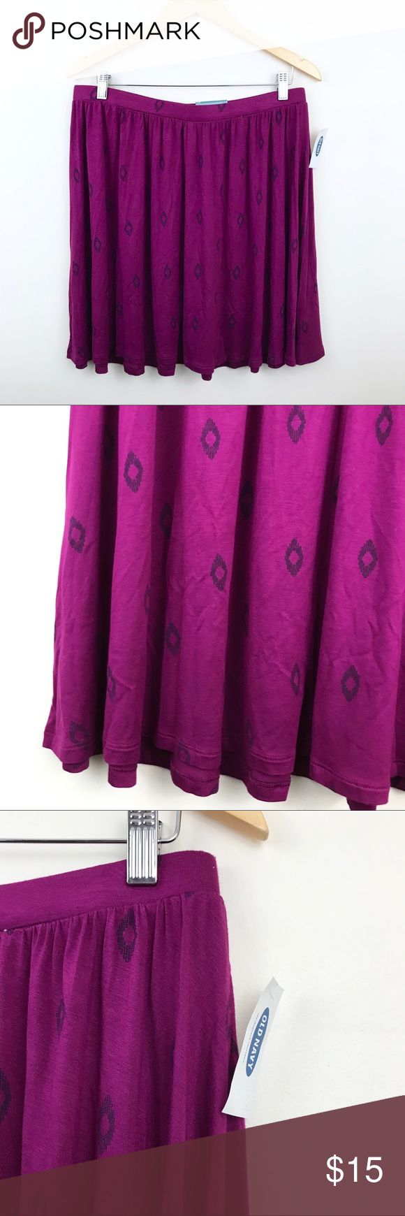 Old Navy Purple Fuchsia Circle Skirt Beautiful fuchsia colored Old Navy skirt with a simple purple design. Perfect for Spring 2018!   CONDITION Brand new with tags! No flaws.   MEASUREMENTS Waist: 16.5in (measured flat, waistband is very stretchy)  Length: 18.5in  MATERIALS 95% Rayon 5% Spandex  • ALL OFFERS WELCOME! • Lowballs don't offend me. I'm happy to negotiate ☺️   Don't forget that bundles of 3+ get 15% off! Old Navy Skirts Circle & Skater