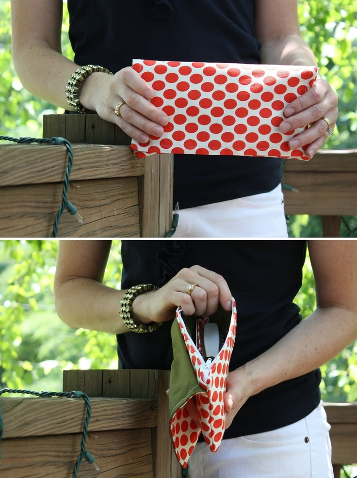 tutorial for clutch with both zipper & flap fastened with a snap (could make flap longer and add pockets underneath it)