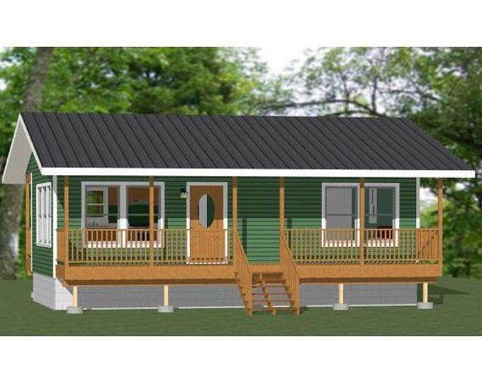 32 16 House 1 Bedroom 1 Bath 512 Sq Ft Pdf Floor Plan Instant Download Model 1 In 2020 Shed Plans Camp House Garage Plans With Loft