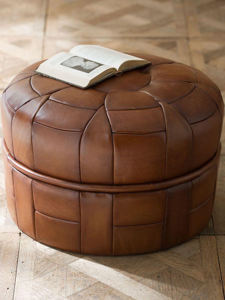 Petal Leather Pouf