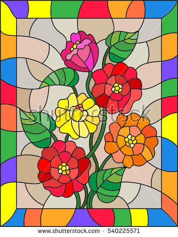 Illustration in stained glass style with flowers, buds and leaves of  zinnias on a brown background