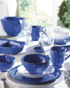 VIETRI Marina Blu - Rich blue with purple undertones creates a striking color that is as unique as its rustic edges and handformed shapes. Handmade of terra cotta in Tuscany. #handmade #dinnerware #italian #blue www.theitaliandish.com