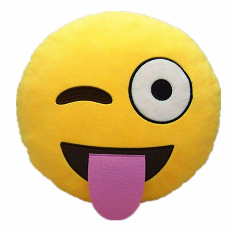 LI&HI Emoji émoticônes oreiller Rire coussin président Oreiller Coussin de siège rond (vilain)