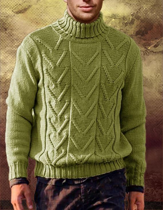 Men's Hand Knitted Turtleneck Wool Sweater 14B