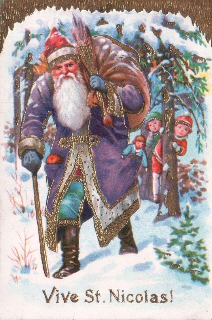 Light Embossed Card Purple Gold Robe Saint Nicols Nicolas Santa Claus Christmas | eBay