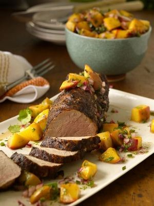 Chili-rubbed Grilled Pork Tenderloin with grilled peach salsa