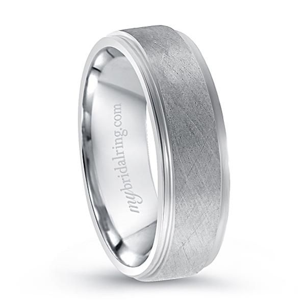 mens simple brush finish wedding ring in white gold httpwww - Mens White Gold Wedding Ring