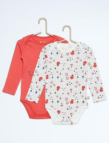Pack de 2 bodys de algodón puro Bebé niña - rouge/blanc - Kiabi - 13,00€