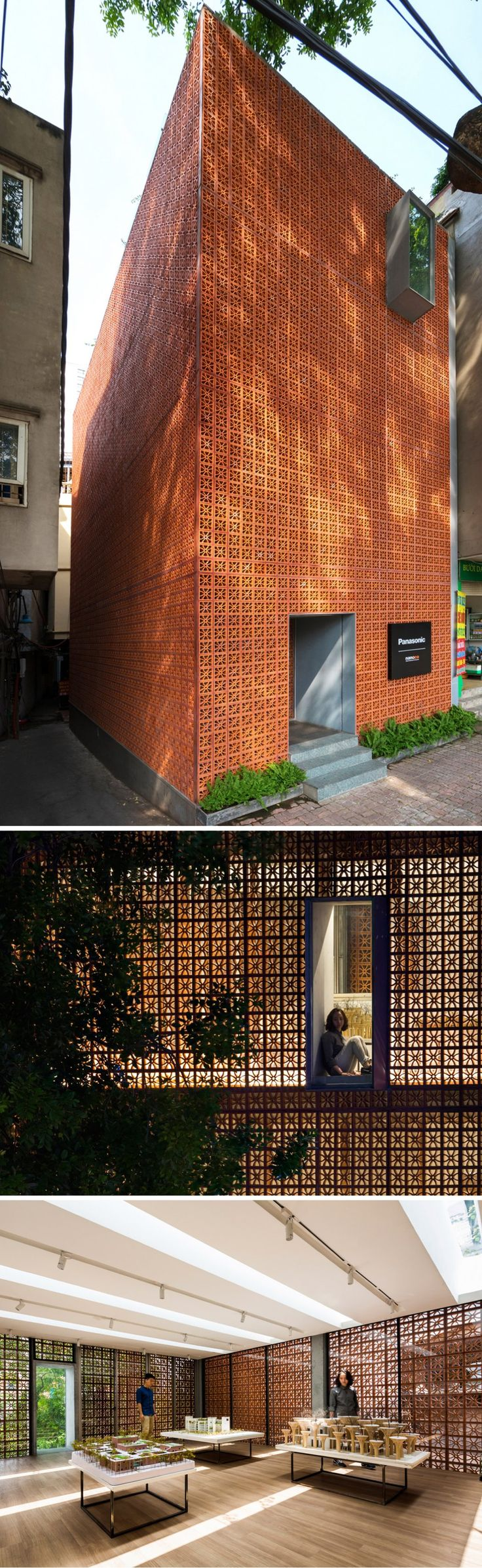Panasonic showroom in Vietnam uses a perforated terracotta façade to create a simple yet significant impact on the surrounding landscape.